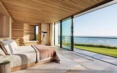 Descargar fondos de pantalla dormitorio, casa de campo, la cama, ventanas grandes, modernas, de diseño de interiores