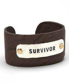 Silver & Brown 'Survivor' Cuff