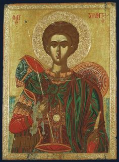 Icon of Saint Demetrios (Demetrius). Second half of the century. One of the few icons, which depicts a helmet (behind his shoulder). Byzantine weapons and armor in the pictorial sources Byzantine Icons, Byzantine Art, Religious Icons, Religious Art, Fall Of Constantinople, Greek Icons, Russian Icons, Art Icon, Orthodox Icons