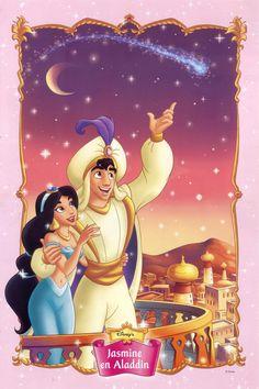 Jasmine and Aladdin with a shooting star