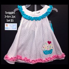"Swiggles 3-6m Infant Girls ""Cupcake"" Ruffled 2pc Set NEW W/Tag $5"