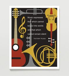 Music Art Print  Wall Decor  Victor Hugo Music Quote  by Quotology