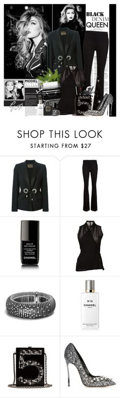 """Denim Trend: Black Jeans"" by beautifully-eclectic ❤ liked on Polyvore featuring Roberto Cavalli, Frame Denim, Chanel, Rick Owens, David Yurman, Casadei, women's clothing, women's fashion, women and female"