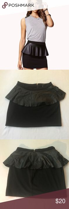 Faux Leather Peplum Skirt Super Cute Mini Skirt with Faux Leather Peplum; Dress it up or Dress it down, perfect for any occasion Forever 21 Skirts Mini