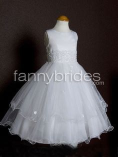 Layered and Applique Tea Length Organza First Communion Dress - Fannybrides.com