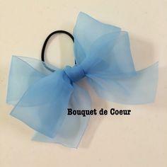 ハンドメイド♡ フェミニンシフォンリボンゴム♡ 全6色♡アクアブルー  http://s.ameblo.jp/bouquet-de-coeur/  Handmade ribbon hair accessory Aqua blue colour