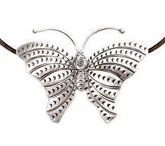 Handmade Sterling Silver Large Butterfly Pendant Necklace
