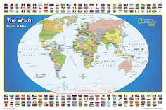 The World for Kids, Laminated, Wall Map by National Geographic Society