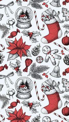 Christmas Phone Wallpaper, Holiday Wallpaper, Christmas Phone Backgrounds, Christmas Lockscreen, Illustration Noel, Christmas Illustration, Christmas Mood, Vintage Christmas, Christmas Design