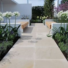 Contemporary Garden Paving Styles Contemporary G / Garden Tiles, Wooden Garden Planters, Garden Floor, Garden Paving, Garden Paths, Back Gardens, Outdoor Gardens, Outdoor Paving, Back Garden Design