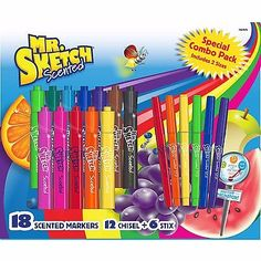 18 Pack Mr. Sketch Special Combo Scented Watercolor Marker Set 12 Chisel/6 Stick