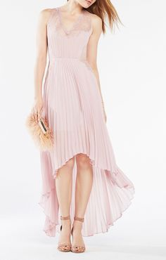 Angelea Pleated High-Low Dress BCBG