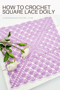 How to crochet square lace doily - free crochet pattern! Crochet Table Runner Pattern, Crochet Bedspread Pattern, Free Crochet Doily Patterns, Crochet Gloves Pattern, Crochet Doily Diagram, Baby Afghan Crochet, Crochet Motif, Crochet Coaster, Filet Crochet