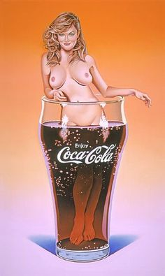 Coca Cola ~ Mel Ramos (this is artwork..a drawing..not a real live person..not against the rules...)