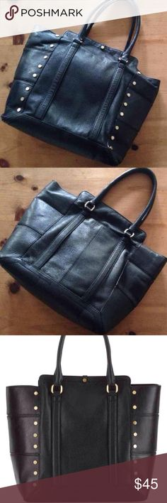 """Kelsi Dagger Parker Leather Tote Retails, $320. Kelsi Dagger Parker Leather Studded Tote Genuine soft leather, great design and trendy studded details. Top snap closure with Rolled leather handles with 6"""" drop. Inside Printed fabric lining with zip pocket & two slip pockets. Dimensions 18"""" x 5"""" x 14½"""". Gently used condition. Kelsi Dagger Bags Totes"""