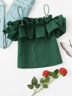 Shop Exaggerated Ruffle Trim Cami Top at ROMWE, discover more fashion styles online. Stylish Dresses For Girls, Dresses Kids Girl, Girl Outfits, Kids Frocks, Frocks For Girls, Girls Frock Design, African Dresses For Kids, Kids Dress Wear, Baby Girl Dress Patterns