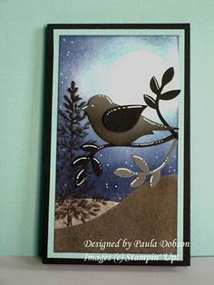 handmade greeting card from Stampinantics: AND ON THAT NOTE....... two-step bird punch bird in gray and black  in a beautiful winter scene created with stamping, sponging and punched elements ... luv the white gel pen markings for the snow fall ... almost folkloric design of lines and dots on the punched bird and branches ... gorgeous winter themed card ... Stampin' Up!