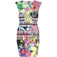 Pink floral mixed print bodycon dress - bodycon dresses - dresses - women