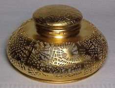 "Tiffany Studios, Pine Needle Large Gold ""Dore"" Inkwell, Beige Glass...ca. 1902-20"
