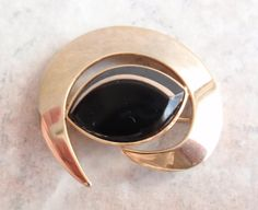 Sarah Coventry Black Gold Brooch Black Saturn 1962 by cutterstone, $12.00