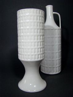 Hutschenreuther Op Art Porzellan Vase Pokalvase Design Karl Scheid 1960er