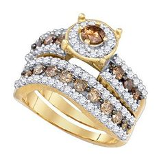 Elegant bridal ring set fashioned in 10K yellow gold the engagement ring features a round cognac diamond four-prong set in the center surrounded by a halo of round white diamonds. An openwork pierced...