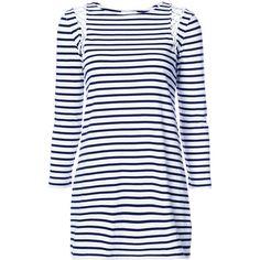 A.L.C. striped T-shirt dress ($360) ❤ liked on Polyvore featuring dresses, white, white dress, striped t-shirt dresses, t-shirt dresses, tee shirt dress and stripe dresses