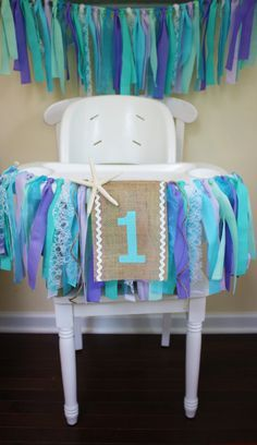 Under the Sea Highchair Banner, Mermaid Party, 1st Birthday Banner, Frozen Party, Elsa and Anna,
