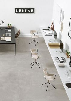 Monday workspace | French By Design office design desk concrete floors communal office space // home office, clean modern office, office inspiration, minimalistic, minimalism