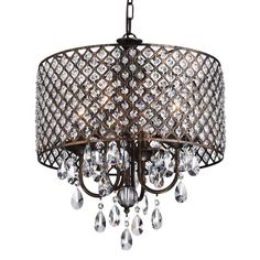 Marya Antique Copper Round Drum Shade Crystal Chandelier Ceiling Fixture - Works as designed and well built.If you are looking for modern chandeliers re Round Crystal Chandelier, Round Chandelier, Chandelier In Living Room, Antique Chandelier, Chandelier Shades, Chandelier Lighting, Clear Crystal, Kitchen Chandelier, Ceiling Fixtures