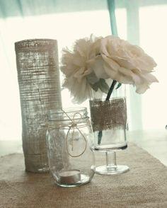 simple elegant wedding reception centerpieces burlap wrapped vases mason jars
