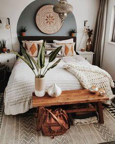 Favorite Boho bedroom - Green Home Boho Bedroom Decor, Bohemian Style Bedrooms, Home Bedroom, Modern Bedroom, Contemporary Bedroom, Boho Decor, Bohemian Living, Bedroom Furniture, Warm Bedroom