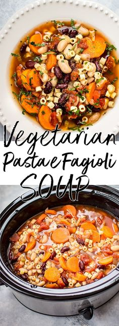 This Crockpot vegetarian pasta e fagioli soup recipe is a hearty and flavorful meatless meal that is easy to throw together so you have a hot meal ready when you get home! #pastaefagioli