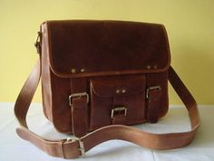 Pure Genuine 11 inches/Inch Handmade Soft Leather Mens Unisex Ipad/Messenger/Satchel Shoulder Handbags/Bags Pouch/Case Gift For him or her. $49.99, via Etsy.