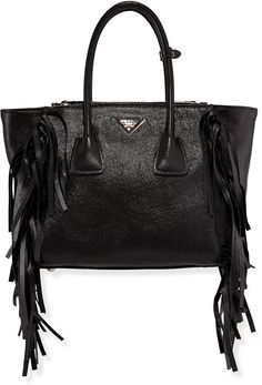$2,750, Prada Glace Calf Twin Pocket Tote Bag Black. Sold by Neiman Marcus. Click for more info: https://lookastic.com/women/shop_items/200202/redirect
