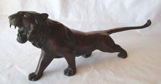 "Elegant Brass Tiger Figurine with Bronzed Finish Glass Eyes 17"" Long"