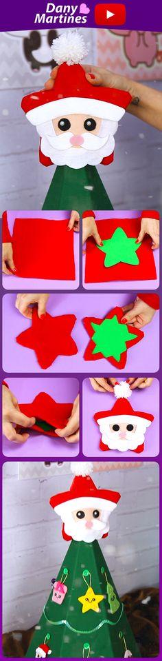 Faça você mesmo uma linda ponteira de árvore de natal, papai noel estrela, Kawaii, Christmas, topo da árvore, DIY, do it yourself, Dany Martines