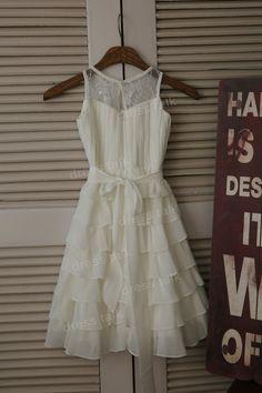 Gasa de marfil de encaje de flores vestido de niña de vestido de la magdalena por dresstalk