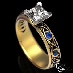 Celtic Gold Engagement Ring Moissanite Sapphire Engagement | Etsy Irish Wedding Rings, Wedding Bands, Wedding Men, Celtic Rings, Celtic Knot Ring, Celtic Engagement Rings, Diamond Solitaire Rings, Thing 1, Princess Cut