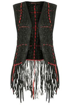 **Leather Weave Gilet by Kate Moss for #Topshop