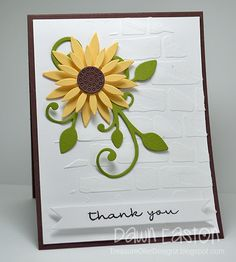 Was in need of some quick thank you cards to give out at work tomorrow. Played a little bit with some light modelling paste and stencils. Sunflower Cards, Work Tomorrow, Paper Crafts, Diy Crafts, Wood Background, Fall Cards, Stamping Up, Creative Cards, Cute Cards