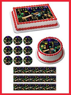 New Year Edible Cake Topper - 2.5 x 10.5 Strips (3 pieces/sheet)