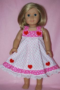 "Doll Clothes dress fits 18"" A.G.& 19"" Chatty Cathy dolls handmade in the USA. #goodqualitycottonpolkadotfabricwithhearts #DollClothessweetheartdressheartslacetrim"