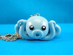 Kawaii Blue Octopus Charm Necklace Polymer by PeeWeesClayHouse