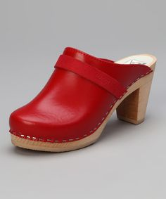 Take a look at this Red Leather Stockholm Clog by Maguba on #zulily today!