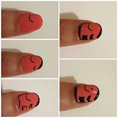 Elephant nail art tutorial