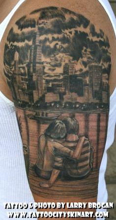Sitting on the dock of the Lake. Chicago tattoo by Larry Brogan Tattoo City, Lockport, IL. www.tattoocityskinart.com