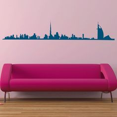 Dubai Skyline Wall Sticker. Bring the essence of Dubai into your home or apartment, whether you live there or not. This Dubai Skyline wall decal is just the accent you need to make that spot on your wall stand out. It'll be the talk of your house parties and all of your friends will be jealous. Go on, get it. http://walliv.com/dubai-skyline-2-wall-sticker-wall-art-decal
