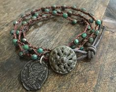 Crochet Knotted Multi Wrap Bracelet, Rustic Coin, Vintage Old World by Two Silver Sisters