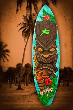 Fieldey custom painted surfboards are hand painted with Molotow spray paint and acrylic paint.